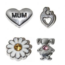 Mother's Day set of 4 floating charm set